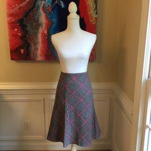 TALBOTS Gray Plaid Wool Blend Skirt EUC